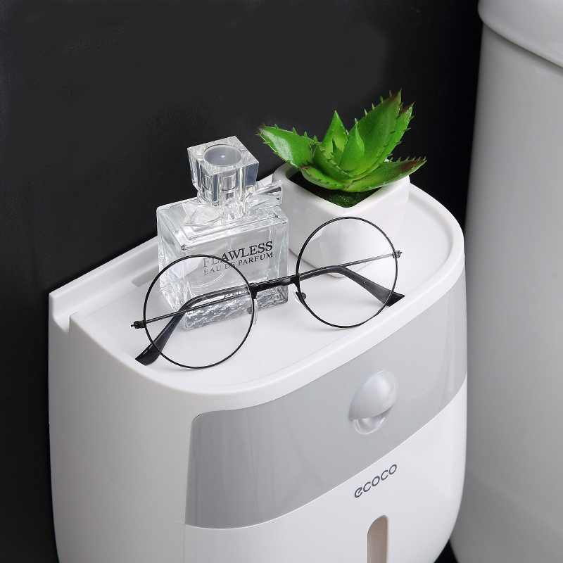 Household Items Roll Paper Dispenser ECOCO Waterproof Double Layer Tissue Box Space Saver Bathroom Organizer Shelf Bath Storage