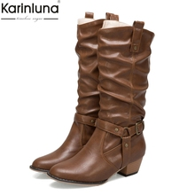 Karinluna 2018 Large size 34-50 dropship retro women shoes woman boots pu leather western boots woman shoes mid-calf boots