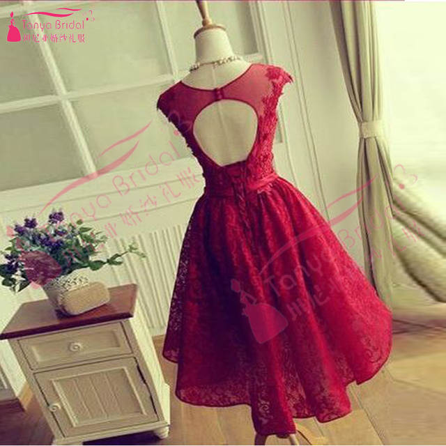 placeholder Burgundy Short Homecoming Dresses Lace Prom Dress semi formal  dresses Backless cheap Homecoming Gown vestido de 303a83f3a061