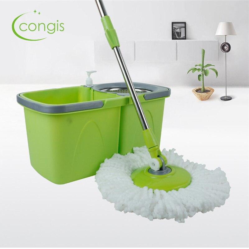 Seaux de vadrouille de sol ronds Congis vadrouilles de nettoyage faciles à essorer pour le nettoyage domestique vadrouille magique mains libres