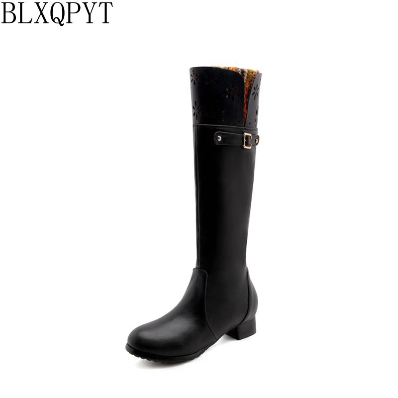 BLXQPYT 2018 Plus big 32-47 Knee High Women Boots Round Toe Pu Short Plush Footwear Low Heels Female Boot Zip Shoes Woman 218-33