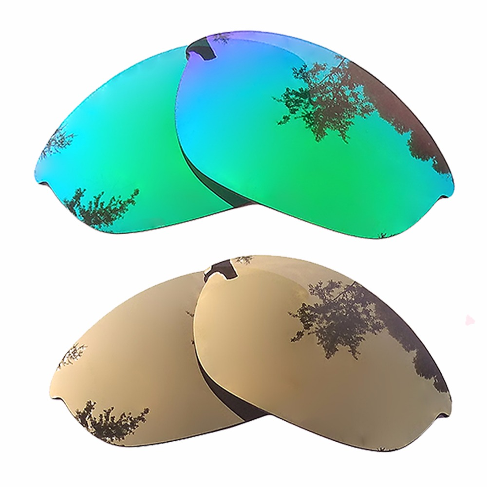 Bronze Gold Mirrored & Green Mirrored Polarized Replacement Lenses For Half Jacket Frame 100% UVA & UVB