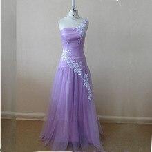 Schulter-abschlussball-kleid In Lila Appliques Lange Tüll Formale Kleid Partei Abendkleid