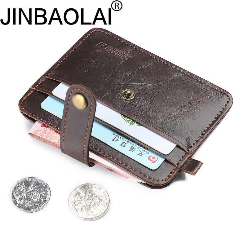 Moda ferrolho carteira rfid bolso de moedas marca de luxo dos homens de couro fino mini carteiras bolsa multifuncional ocasional titular do cartão de crédito