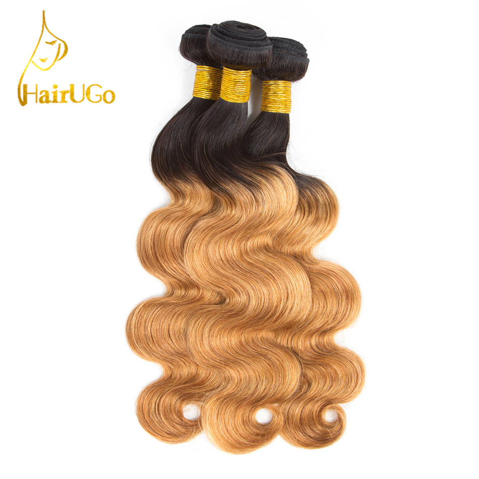 HairUGo Hair Malaysia Body Wave Bundles With Closure Pre-colored Ombre Color 1B/27 Hair Extention Bundles With Closure Non-Remy