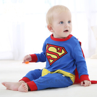 Superman Baby Boys Girls Rompers Cosplay Costume Clothing For Kids Winter Jumpsuit Infant Clothes Bebe Cartoon
