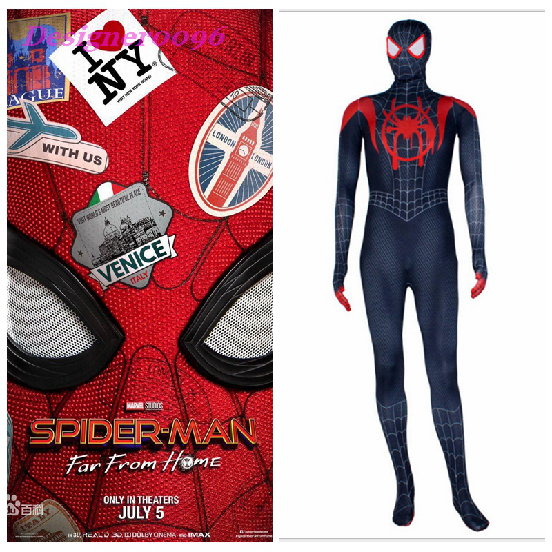 Spider-Man: Far From Home Spider-Man Cosplay Costume 2019 new Marvel Movie New Style Peter Parker Miles Morales Tights One Piece