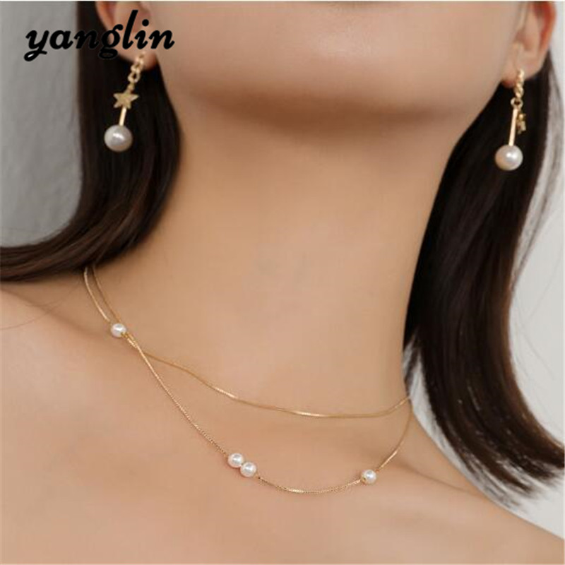 New Trendy Korean Style Gold Chain Simulated Pearl Multilayer Choker Necklace Star Pearls Earrings For Women Fashion Jewelry Set
