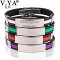 V.YA Fashion Women's Men's Customized Bracelet Laser Engraving for Stainless Steel Bracelets Bangles Festival Gifts