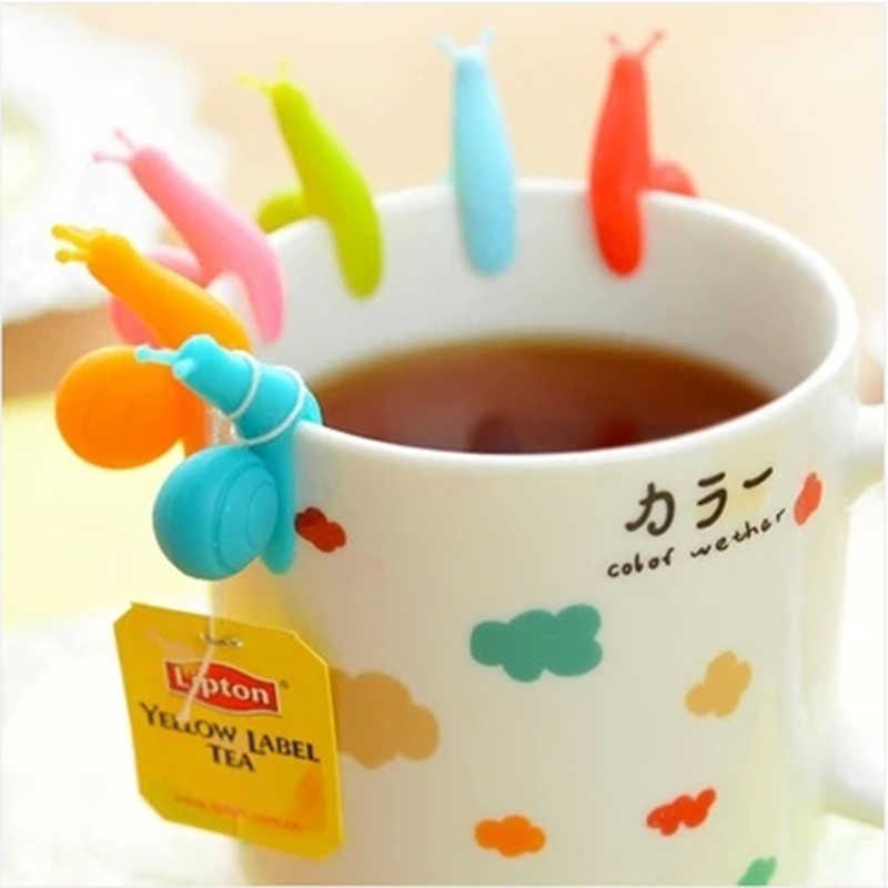 Sale  6 PCS/Set Cute Candy Colors Snail Shape Silicone For Mug Cup Tea Bag Holder Tea Tools Gift