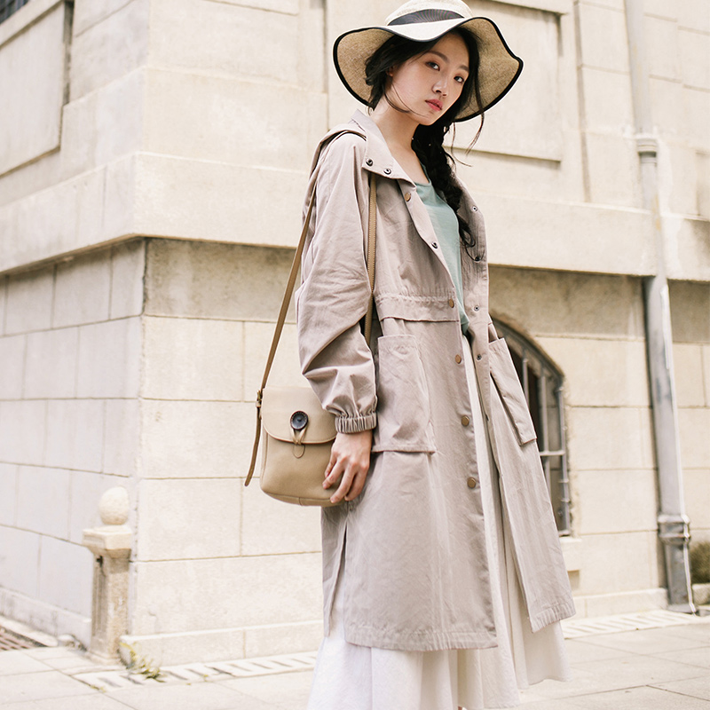 INMAN Women s 2019 Autumn Hooded Pocket Single Breasted Frock Coat Long Trench Thin Coat