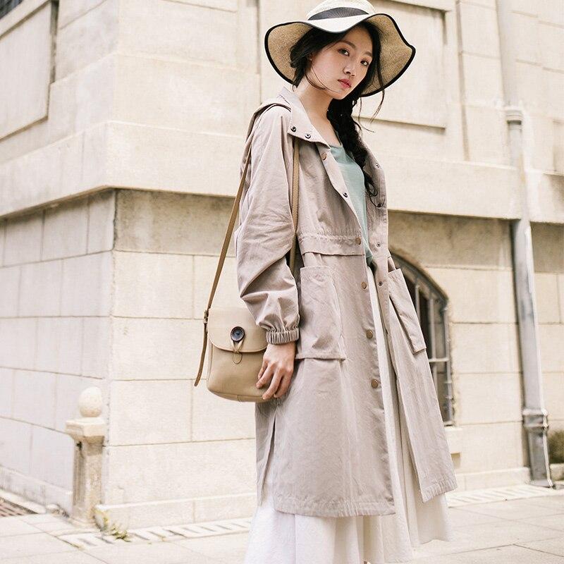 INMAN kobiet 2019 jesień z kapturem kieszeń pojedyncze łuszcz sukienka płaszcz długi wykop cienki płaszcz w Trencze od Odzież damska na  Grupa 1