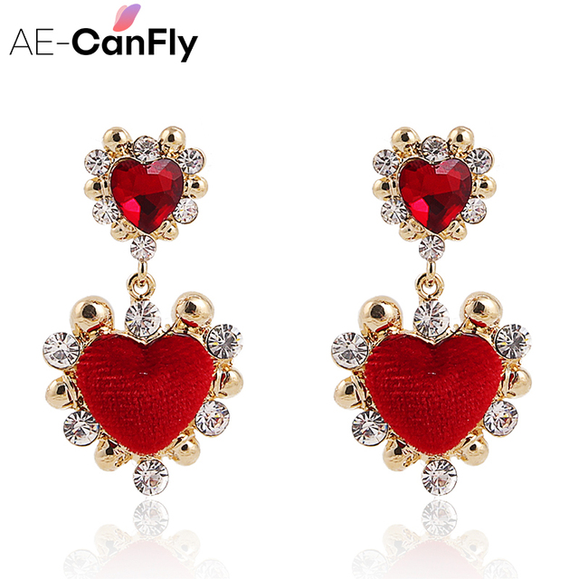 Ae Canfly 2018 Newest Charm Red Crystal Drop Earring Brincos For S Sweet Velvet Lover