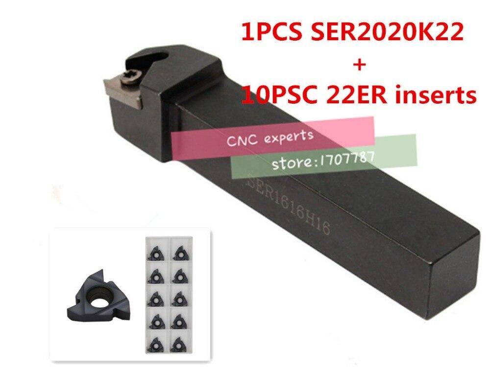 SER2020K22 External thread CNC Turning tool 1pcs 22ER N60 Carbide insert 10pcs 11pcs set
