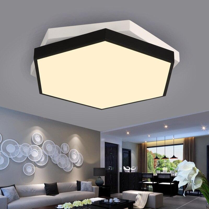 Creative Hexagon Overlapping Living Room LED Ceiling Lamp Restaurant Light Black And White Bedroom Cafe Lamp Free Shipping