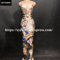 BU252 Для женщин пикантные длинные юбка без рукавов Девы Марии Глава портрет сверкающими кристаллами печатных ночной клуб для вечеринки, дня