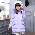 Children Thick Duck Down Jacket Coat For Girls New 2016 Russia Winter Fashion Fur Hooded Kids Outwear Parka Coat For-25 Degree