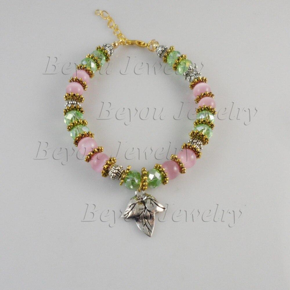 AKA Green&Pink Crystals IVY leaf charm jewelry Alpha K Alpha bracelet 3pcs 1 lot