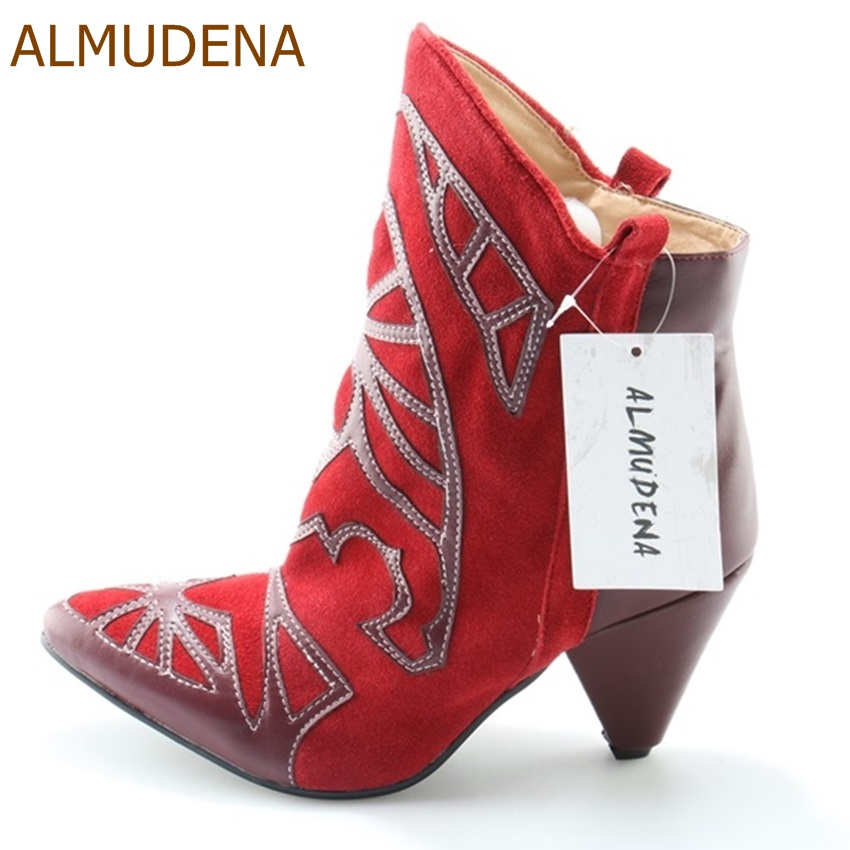 ALMUDENA Red Suede Pointed Toe Embroidered Short Boots Unique Design Spike Heel Color Patchwork Dress Shoes Motorcycle Booties