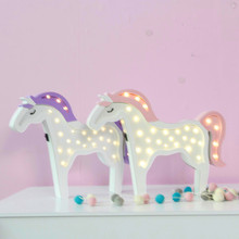 led木材ユニコーン馬動物ナイトランプ子供の日素敵なクラウド贈り物ホームパーティー壁の装飾ホリデー照明2色 leds 28