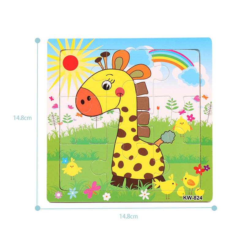 30 cm bébé jouets Montessori en bois Puzzle/main saisir conseil ensemble éducatif en bois jouet bande dessinée véhicule/Animal marin Puzzle enfant - 2
