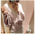 Japanese Sweet Pink Pullover V Collar Hollow Bishop Sleeve Set Head Knitting Sweater Female