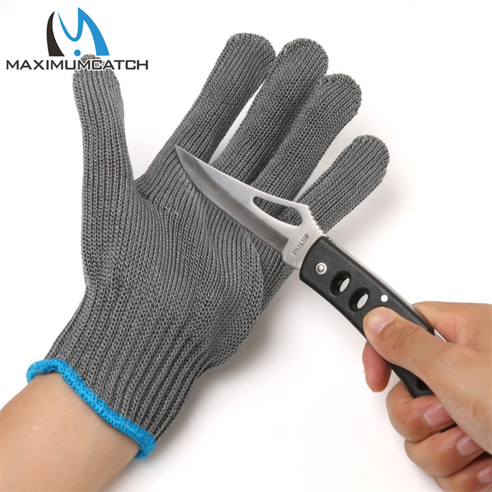 Maximumcatch Fishing Gloves 2 Pieces Thread Weave Cut Resistant Fillet Knife Glove Protective Anti Slip Fishing Gloves image