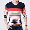 2016 New High quality Sweaters Man's Pullovers Pullover Color Stripe Sweaters Casual Men Slim Wools Knitted V-Neck Sweater
