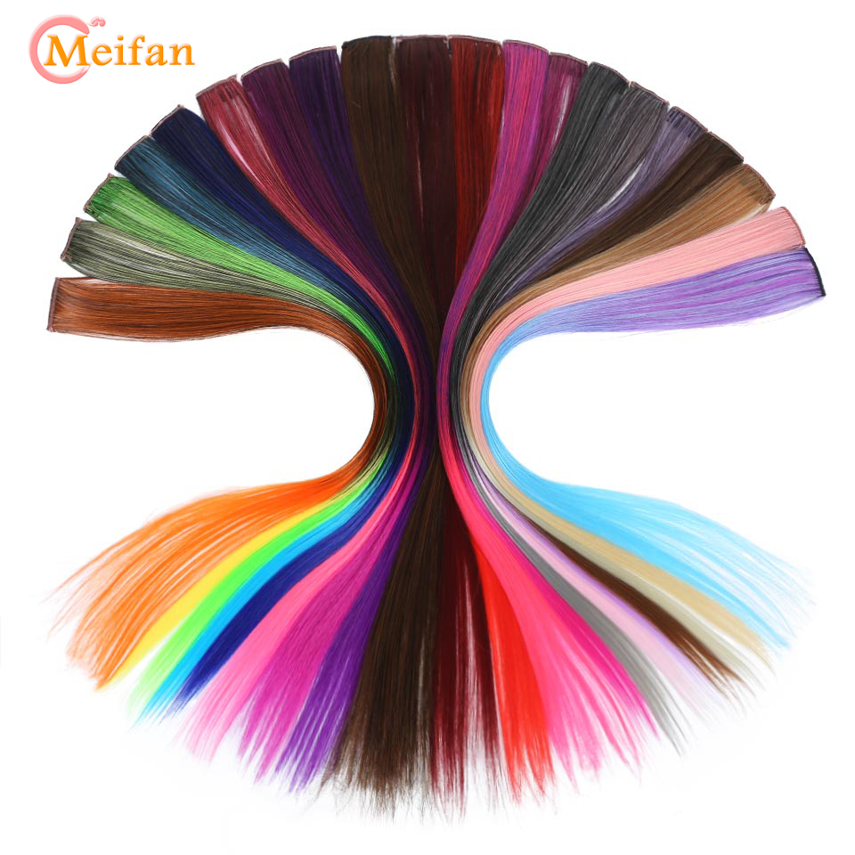 MEIFAN long Straight Color Hair Clip in One Piece Hair Extensions Highlight Rainbow Hair Streak Pink Synthetic Color Hair Strand 1