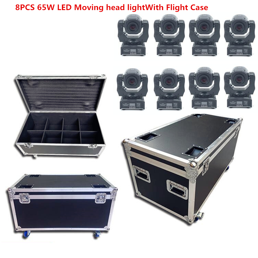 8pcs/Lot 65W LED Beam Moving Head Light With Flight Case LED Spot Moving Head Light/USA Luminums 60W LED DJ Spot Light Dmx Dj