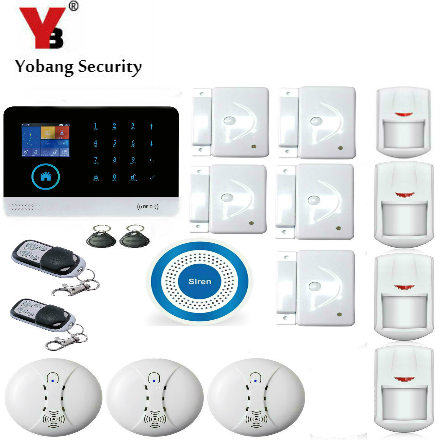 YobangSecurity IOS Android APP GSM WIFI GPRS RFID Touch Pad Home Alarm Security System Smoke Fire Detector Wireless Siren yobangsecurity touch keypad wifi gsm gprs rfid alarm home burglar security alarm system android ios app control wireless siren