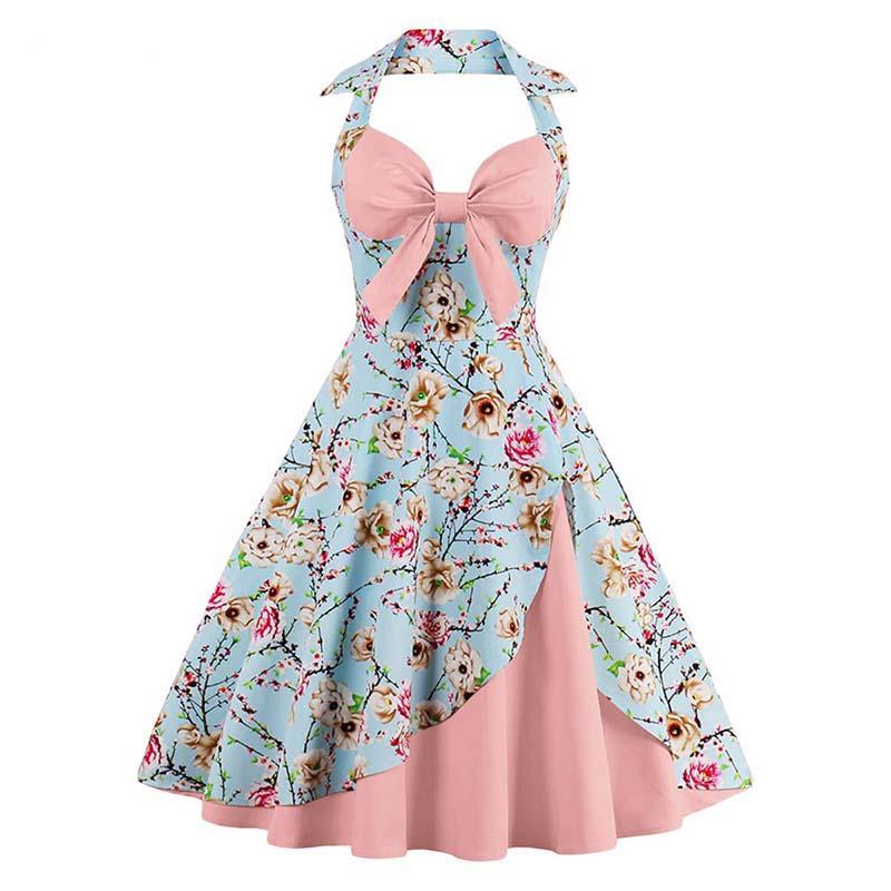 Sisjuly estate abito vintage patchwork senza maniche blu una linea vestito  da partito bowknot pittura di stile Cinese con scollo a v abiti d epoca in  ... 4b0d468d57e