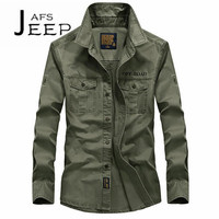 AFS JEEP Original Brand Man S Pure Cotton Motorcycle Long Sleeve Shirts Double Chest Real Pocket