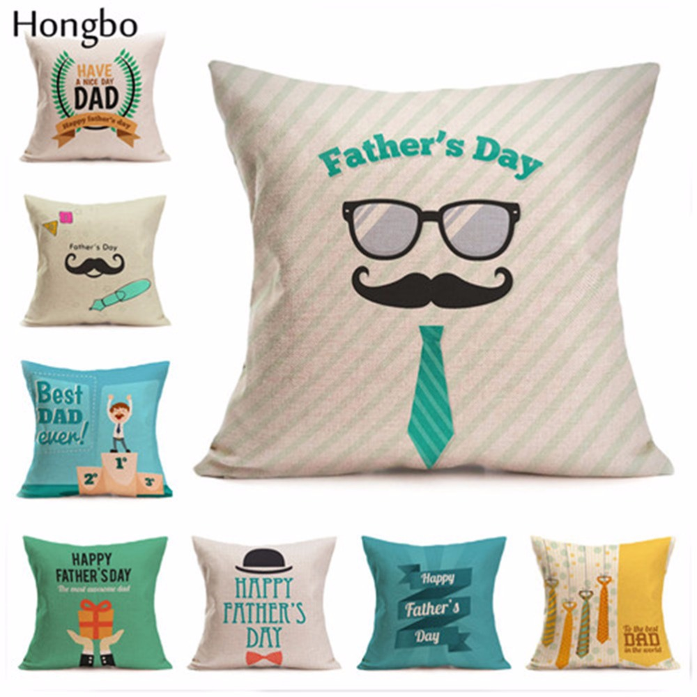 Hongbo 1 Pcs Fathers Day Gift Linen Throw Pillow Case Cushion Cover Pillow Case Birthday Gift for Father Home Room Decoration