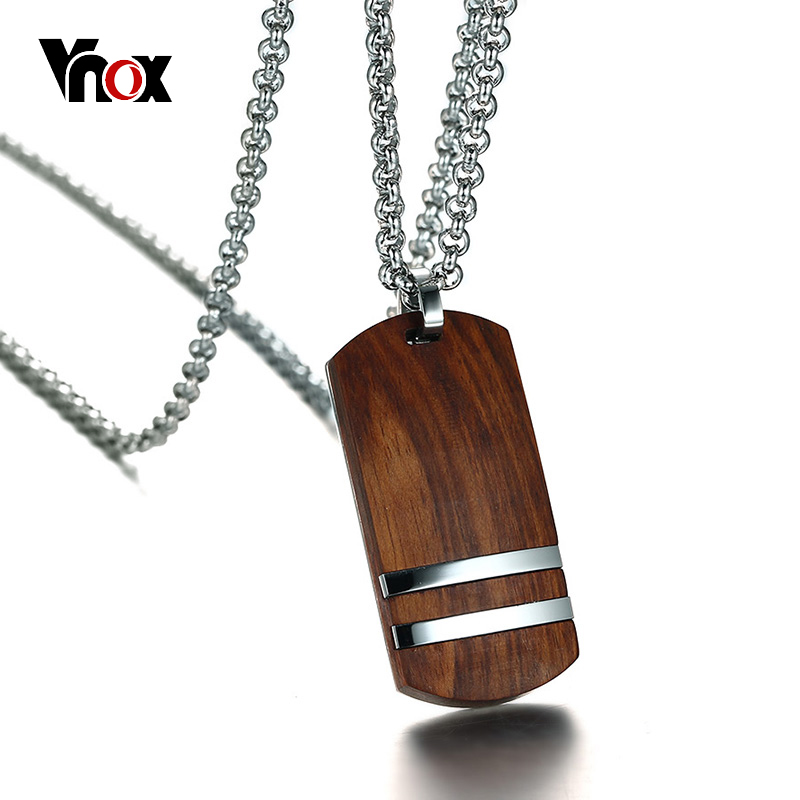 Vnox Top Rosewood Men Necklace Unique Qualified Colgantes y collares de madera Cadena ajustable de joyería de acero inoxidable 22-24 ""