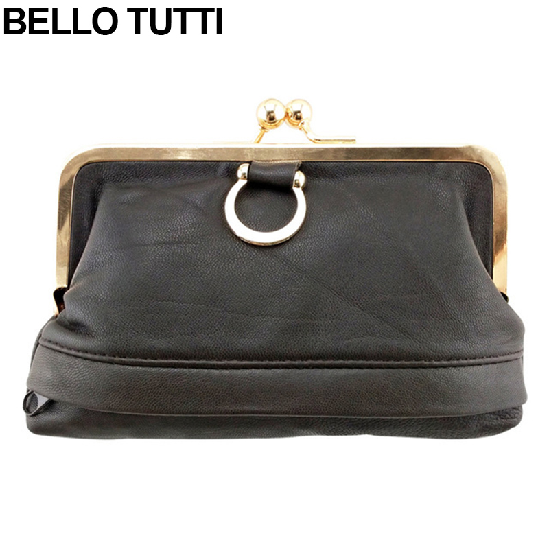 BELLO TUTTI Womens Genuine Leather Wallet Kiss Lock Small Coin Money Bag Female Hasp Lady Mini Change Purse Soild Color