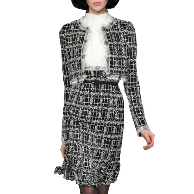Designer Runway Suit Set 2017 High Quality Women Black White Plaid Tassel Jacket Mermaid Skirt Set SAD267