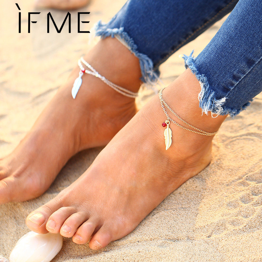 IF ME 2017 New Arrival Leaf Charms Anklet Bracelets for Women Gift Summer Beach Foot Jewlery Gold And Silver Color Women Gift