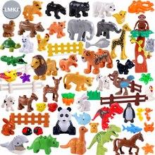 Diy Duploe Building Blocks Animals Models Dinosaur Deer Panda Elephant Tiger Figures Duploed Puzzle Toys For Children