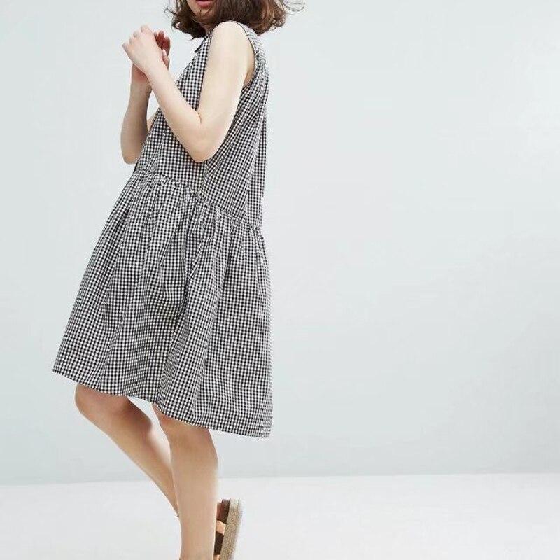 Buy Cheap European 2017 Summer Womens Casual Check Dress Sleeveless Loose Pocket Vestidos Femme Fashion Shirt Dresses
