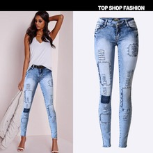 Gagaopt 2016 Vintage Spliced Woman Jeans Sexy Bodycon Mid Waist Pencil Pants Full Length Personality Patch Sexy Woman Trouser