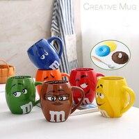 Cartoon Ceramic mugs M Beans Chocolate Beans Couple Creative Ceramic Coffee Mug Milk Cups Office tea Cup Christmas Gifts