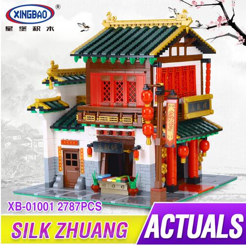 NEW XingBao 01001 Block 2787Pcs Creative Chinese Style The Chinese Silk and Satin Store Set Building Blocks Bricks Toys Model туфли ecco 211513 11007 211513 01001 211513 11007 211513 01001