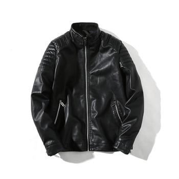 2018  Spring Jacket New Fashion Leather  Standing collar coat  Korean Slim Leather Jacket Men's Collar  Leather Men's