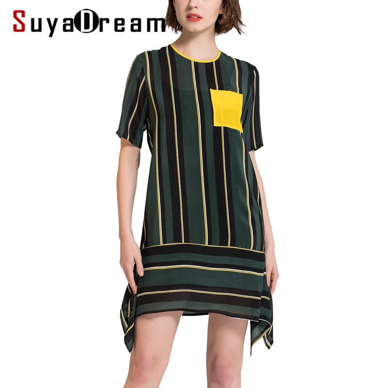 Women Silk dress Luxury 100 Natural silk Mini Length Striped dress Short sleevesd Casual dresses 2018