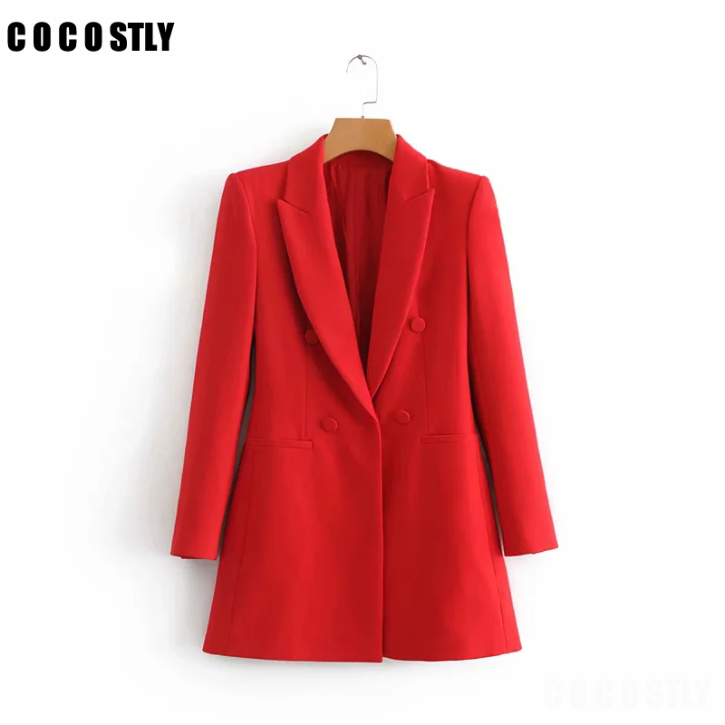 Blazer Women Shrug Long Blazers Long Sleeve Notched Collar Solid Red Black Outerwear Office Lady Work Wear Basic Chic Tops
