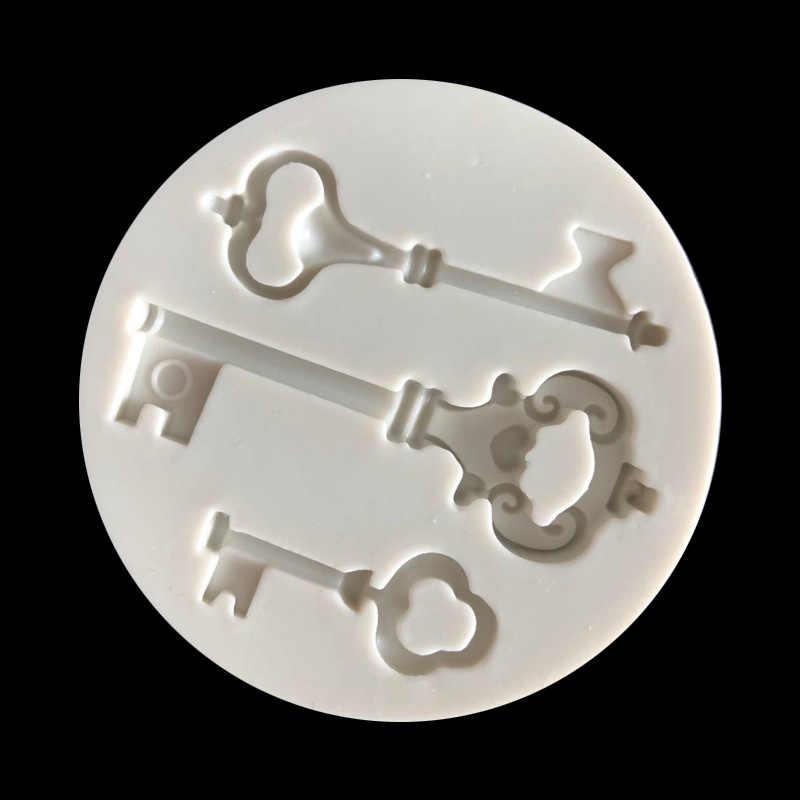 Khóa mới Silica Gel Khuôn Mẫu Retro-Chìa khóa Pha Lê Khuôn Thiết Kế TỰ LÀM Đất Sét Thủ Công 3D Dán Tường Bảng Khuôn Làm Thạch Cao bê tông Khuôn Silicon