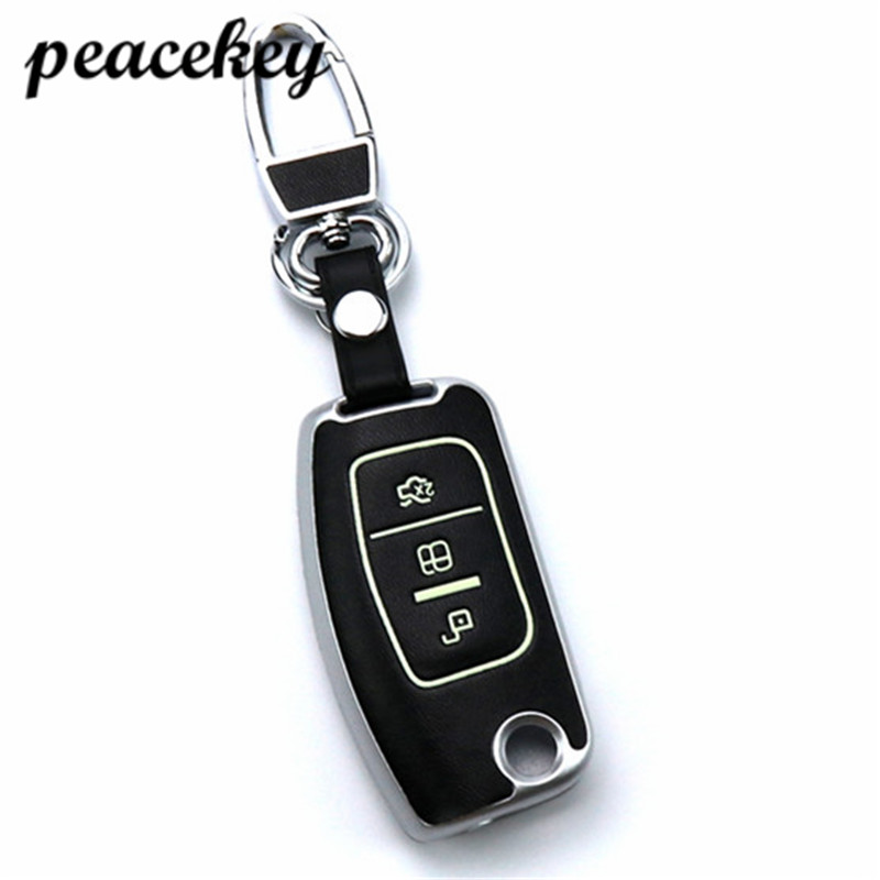 Peacekey car remote key leather cover Keychain case for Ford Focus 2 MK2 car accessories key holder ring wallet