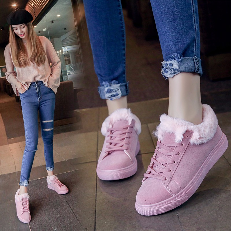 Women Flats For Winter Plush Warm Shoes Casual Flat Heels Lace Up Ladies Shoes Size 35-40 Black Gay Pink Fashion Fur Shoes NX5 (28)