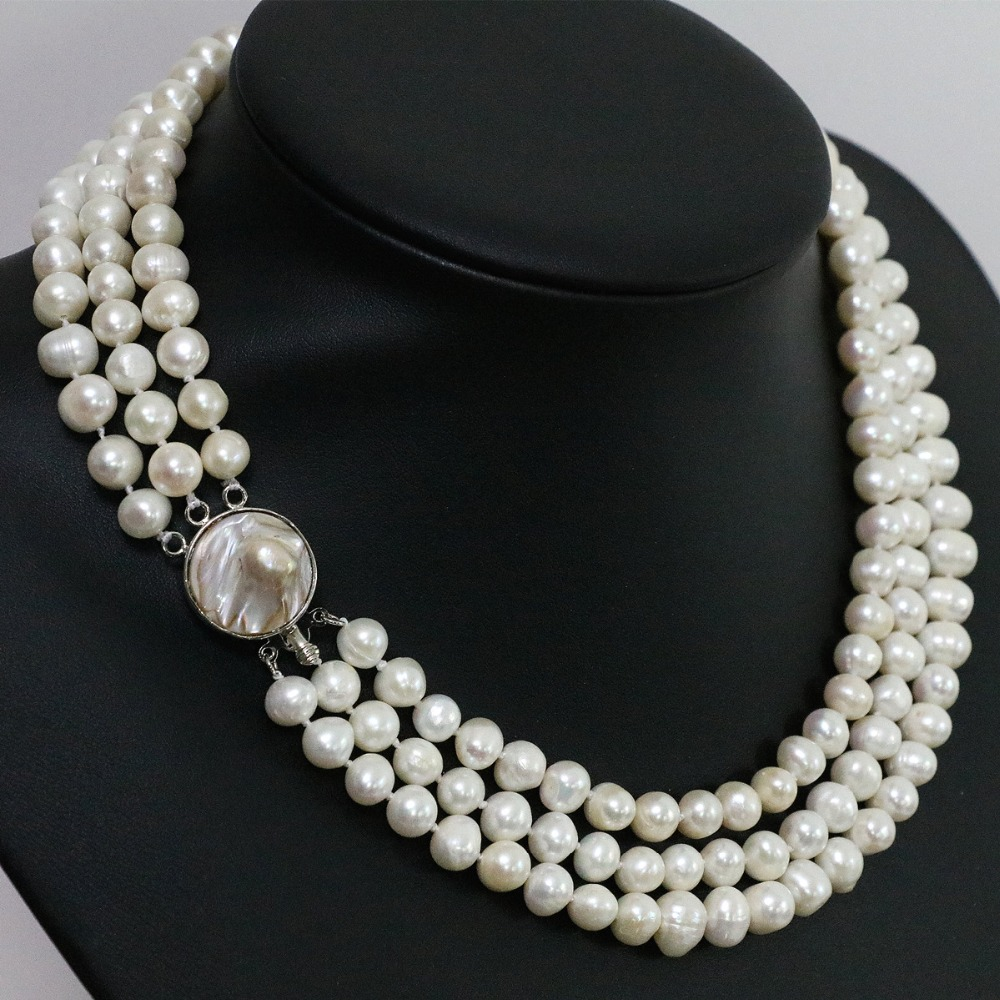 5d84fca34 High quality white natural freshwater pearl 3 rows necklace round beads 7  8mm mother shell clasp jewelry 17 19inch B1475-in Chain Necklaces from  Jewelry ...